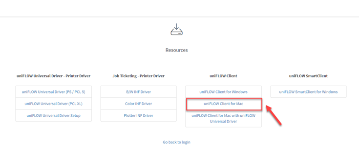 The uniFLOW web portal resources page with a red arrow and box highlighting the uniFLOW Client for Mac button.