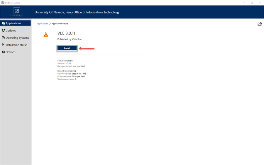 Screenshot of the VLC Application Details page with a red box around the Install button and a red arrow pointing towards the install button.