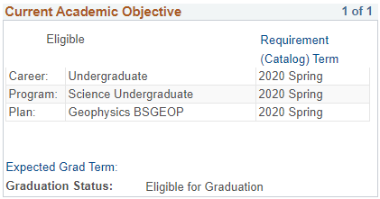 Current Academic Objective section of Academic Progress report in MyNEVADA