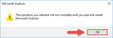 Screenshot of the Microsoft Outlook reminder pop up window with a red box around the OK button and a red arrow pointing towards the OK button.