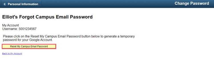 """Forgot Campus Email Password page with a red box highlighting the """"Reset My Campus Email Password"""" button."""