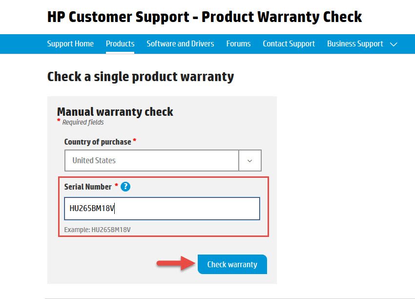 Screenshot of the HP Customer Support - Product Warranty Check with a red box around the Serial Number field and a red arrow pointing towards the Check Warranty button.