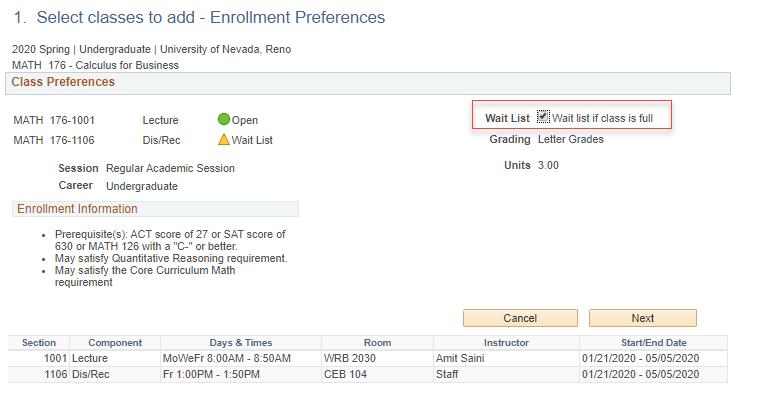 MyNEVADA Wait list if class is full enrollment screen
