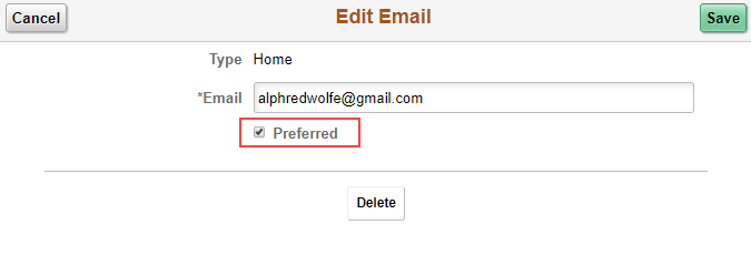 Edit email selection in MyNEVADA, includes the email type, email address, and the preferred selection.