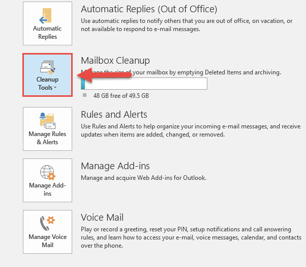 Screenshot of the File tab in Outlook with a red box around the Cleanup Tools button and a red arrow pointing towards the Cleanup Tools button.