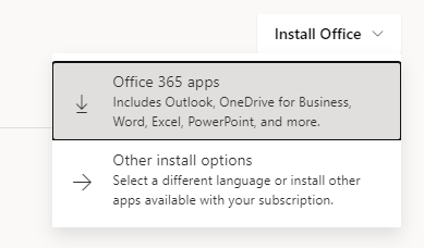 """Screenshot of the dropdown menu under """"Install Apps"""" showing the """"Office 354 apps"""" option highlighted"""