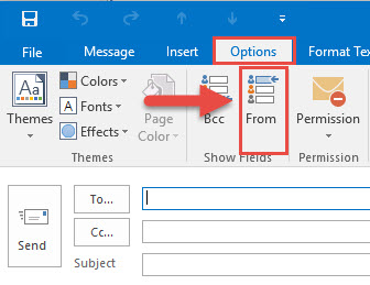 Screenshot of the New Message window with a red box around the Options tab, a red box around the From button, and a red arrow pointing towards the From button.