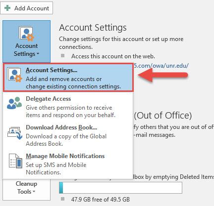 Screenshot of the Outlook File menu with a red box around the Account Settings option and a red arrow pointing towards the Account Settings option.