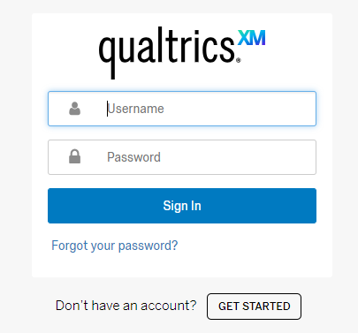 The qualtrics login screen, where you will login using the new account