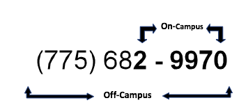 Voicemail phone number 775-682-9970 with the last 5 digits highlighted (29970) for calling while on campus.