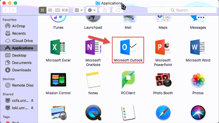 Screenshot of the Mac Applications folder with a red box around the Microsoft Outlook icon and a red arrow pointing towards the Microsoft Outlook icon.