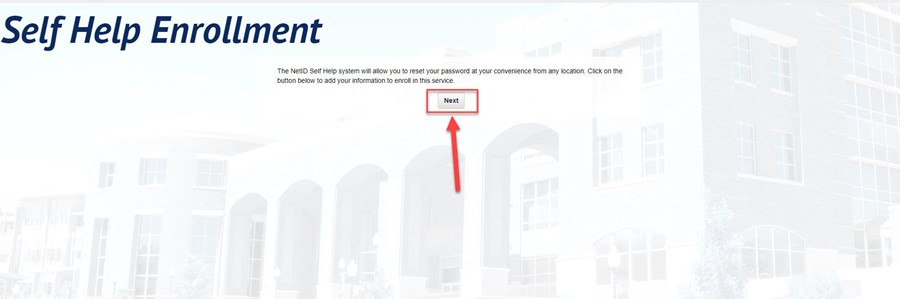 Self Help Enrollment with an arrow pointing to the Next button