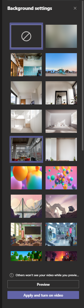 Photos of different background options shown, with the Apply and turn on video button at the bottom.