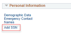 Personal Information section in MyNEVADA with Add SSN with a red box around it