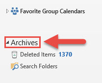 Screenshot of the Outlook Navigation pane with a red box around the Archives section and a red arrow pointing towards the Archives section.