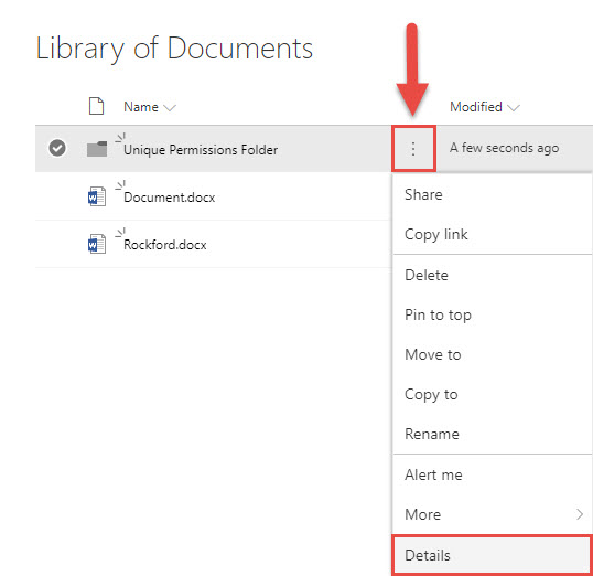 Screenshot of the SharePoint Details menu with a red box around the Details Menu icon, a red box around the Details options, and a red arrow pointing towards the Details Menu icon.