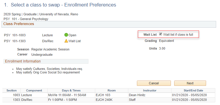 Swap a class page in MyNEVAD with PSY 101 indicated and a red box around wait list if class is full check mark