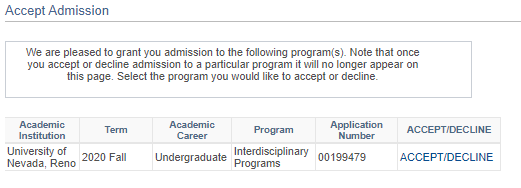 Accept Admission screen in MyNEVADA
