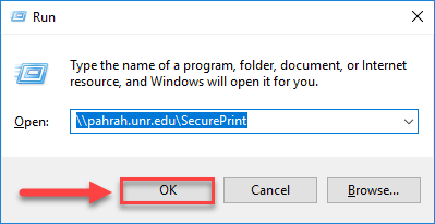Windows run dialog box with the word \\pahrah.unr.edu\SecurePrint typed into the available box and a red box with a red arrow highlighting the OK button on the bottom left side.