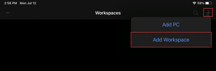 """Remote Desktop Mobile window with the """"+"""" and """"Add Workspace"""" buttons highlighted by a red box"""