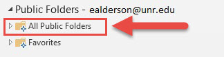 Screenshot of the Public Folders option with a red box around the All Public Folders option and a red arrow pointing towards the All Public Folders option.