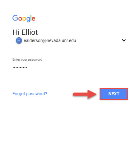 Screenshot of the Gmail login screen with a red box around the Next button and a red arrow pointing towards the Next button.