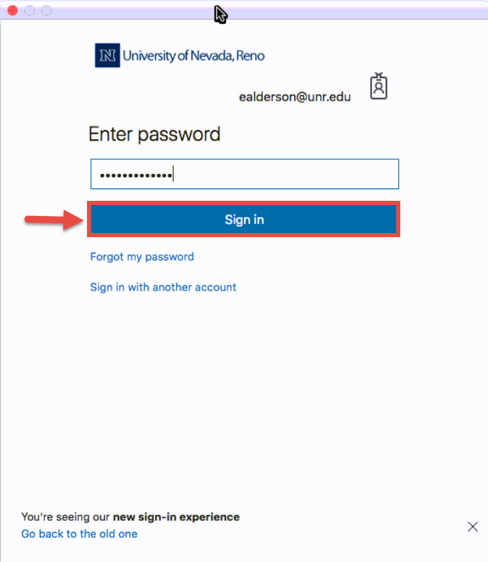 Screenshot of the Outlook Office 365 sign in screen with a red box around the Sign in button and a red arrow pointing towards the Sign in button.