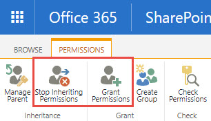 Screenshot of the Permissions tab in SharePoint with a red box around the Stop Inheriting Permissions and Grant Permissions option.