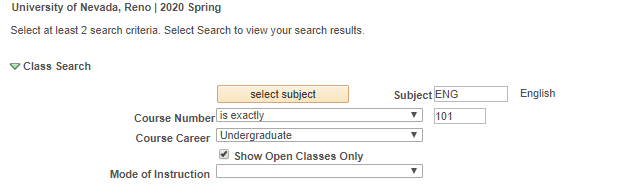 MyNevada Search for Classes menu with searchbox for subject, course number filled in
