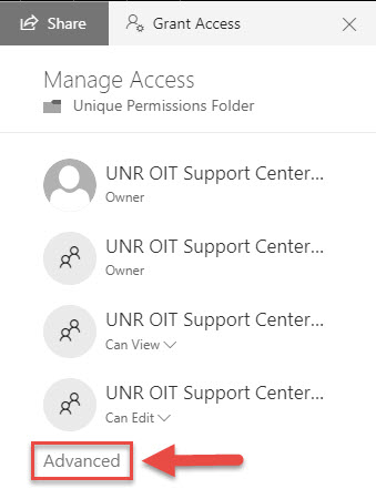 Screenshot of the Manage Access menu with a red box around the Advanced option and a red arrow pointing towards the Advanced option.