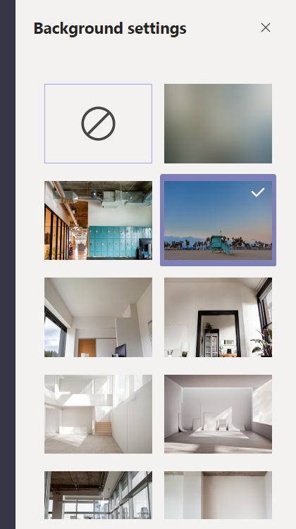 Window showing various backgrounds to choose from including background blur.