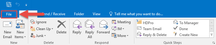 Screenshot of the Outlook toolbar with a red box around the File tab and a red arrow pointing towards the File tab.