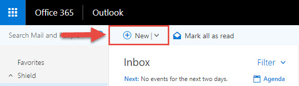 Screenshot of the Outlook online window with a red box around the New button and a red arrow pointing towards the New button.