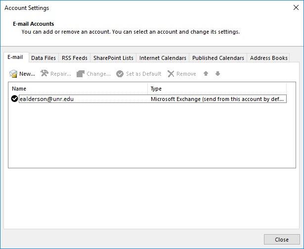 Screenshot of the Account Settings window.