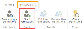 Screenshot of the Permissions Tab in SharePoint with a red box around the Grant Permissions button.