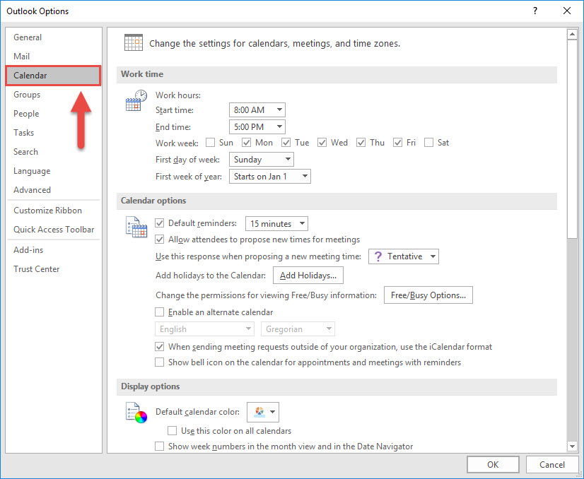 Screenshot of the Outlook Options window with a red box around the Calendar option and a red arrow pointing towards the Calendar option.