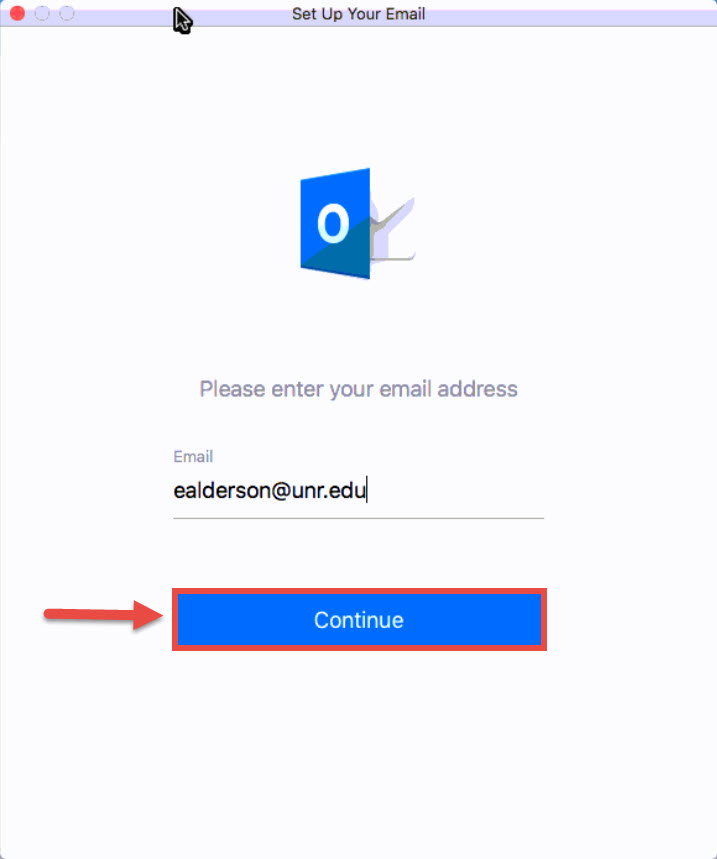 Screenshot of the Set Up Your Email window with a red box around the Continue button and a red arrow pointing towards the Continue button.
