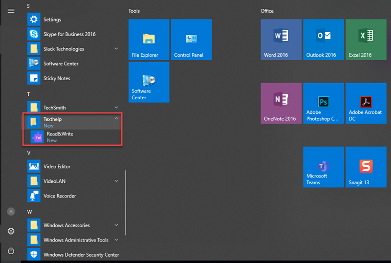 Windows Start Menu with the Texthelp folder and Read&Write program surrounded by a red box.