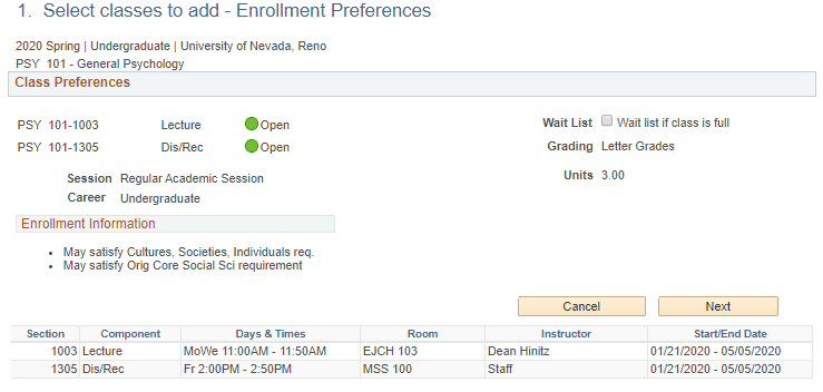 MyNevada Enrollment Preferences with a class seleted, with the class name, class section and academic session information available for review.