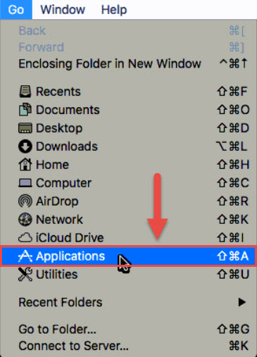 Screenshot of the Mac Desktop Go menu with a red box around the Applications option and a red arrow pointing towards the Applications option.