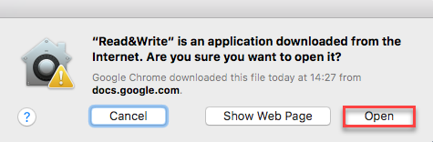 A dialog box with the Open button highlighted by a red square.