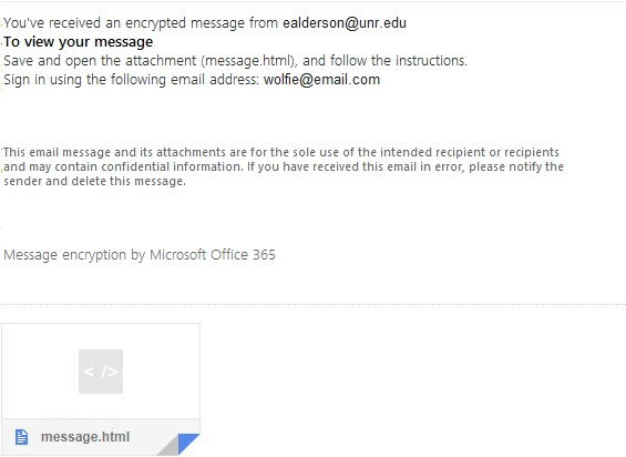 Screenshot of an Email Encrypted using the Office 365 server.