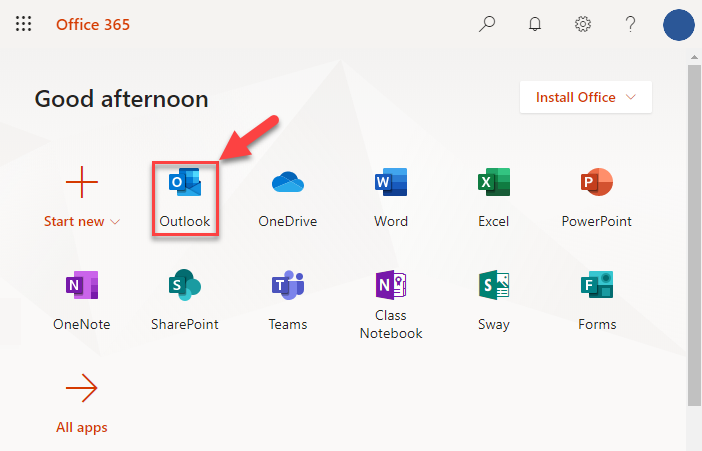 You will now be logged into your Microsoft Account.Click on the Outlook icon.