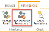 Screenshot of the Permissions tab in SharePoint with a red box around the Stop Inheriting Permissions option.