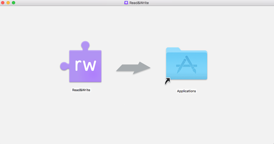 The Read&Write Icon on the left with an arrow pointing from it to the Applications Folder on the right.