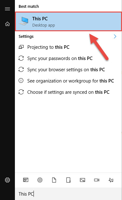 Screenshot of the Windows 10 start menu with a red box around the This PC menu and a red arrow pointing towards the This PC menu.