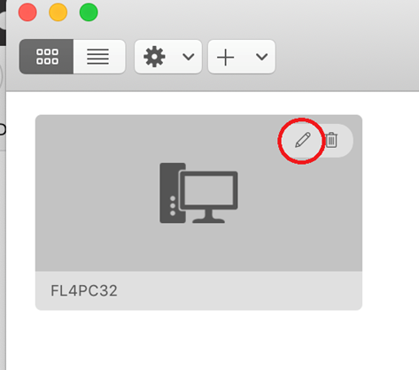 Computer connection button with a red circle highlighting a pencil icon on the top right corner