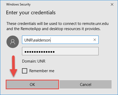 Windows Security Credentials window username entered as UNR\netid and a red box around the OK button and a red arrow pointing towards the OK button.