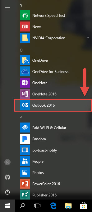 Screenshot of the Windows 10 Start Menu with a red box around the Outlook 2016 icon and a red arrow pointing towards the Outlook 2016 icon.