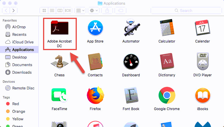 Screenshot of the Applications menu with a red box around the Adobe Acrobat DC folder and a red arrow pointing towards the Adobe Acrobat folder.